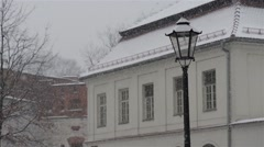 Heavy snowfall in center of Krakow, Poland Stock Footage