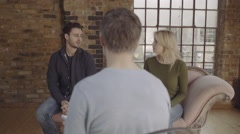 Marriage Therapy, Couple Talking to Counsellor Stock Footage