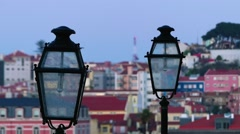 Street lamp on background of old city in Lisbon Stock Footage