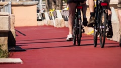 Cycle path in Palma, Mallorca, Balearic in Spain Stock Footage