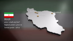 3D animated Map of Iran Stock Footage