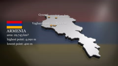3D animated Map of Armenia - stock footage