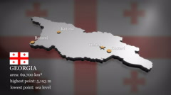 3D animated Map of Georgia (country) Stock Footage
