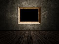 Old room with wooden photo frame - stock illustration