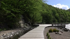 Gangway to observation desk on river bank, green mountains valley bottom Stock Footage