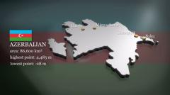 3D animated Map of Azerbaijan - stock footage