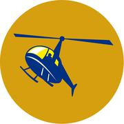 Helicopter Chopper Flying Circle Retro. Stock Illustration