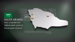 3D animated Map of Saudi Arabia Stock Footage