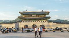 Time lapse of Gwanghwamun gate of Gyeongbokgung Palace in Seoul, Korea. Stock Footage