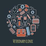 Veterinary pet health care animal medicine icons set isolated Piirros