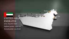 3D animated Map of the United Arab Emirates Stock Footage