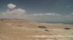 Overlook shot of Masada Stock Footage