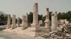 Broken Columns in Beth Shean Stock Footage