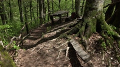 POV descent at ground path on hillside, come out to rest area, wooden table Stock Footage