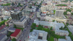 Beautiful sunny day. Aerial view of downtown Kiev - stock footage