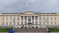 Time Lapse of Clouds & People at the Royal Palace Oslo Norway - stock footage