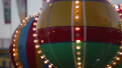 Carnival Ride Merry Go Round Carousel Summer Lights Balloon Stock Footage