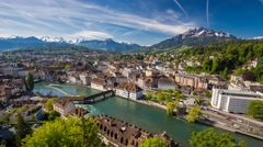 View to old city center of Luzern, Switzerland - 4K Timelapse Stock Footage