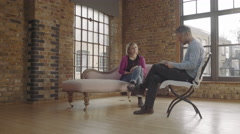 Counselling session, Adult Female Talking to Counsellor on psychiatrist couch Stock Footage