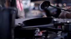 Chef cooking at food stall. Stock Footage