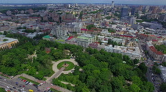Flying over the central park in Kiev - stock footage