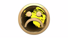 Sad smiley face emoticon against the spinning  yellow-orange  earth Stock Footage
