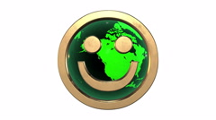 3d golden smile face emoticon against the spinning  green  earth-globe Stock Footage