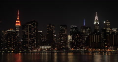 New York City Manhattan buildings skyline evening sunset night - stock footage