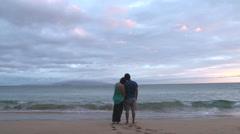 Couple In Love On Hawaiian Island Beach Stock Footage