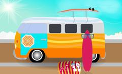Cartoon van with surfboards standing in the road by the sea. Vec Stock Illustration