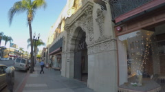 Decorative Historic Building Facade Main Street - Santa Ana CA Stock Footage