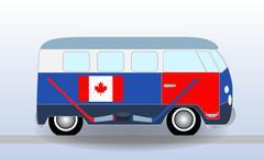 Cartoon minibus with Hockey Stick and Puck. Vector Illustration Stock Illustration