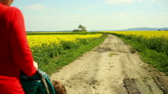 Mother with baby in stroller walks on a dirt road at the village - stock footage