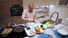 Man Beats Hammer Kitchen Meat Stock Footage