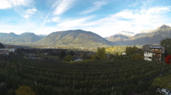 Time lapse looking down to Meran - Morning Stock Footage