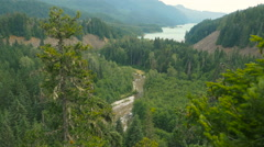Panorama view of ocean and cliffs with fir trees foreground Stock Footage