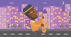 Musician playing saxophone - stock illustration