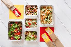 Flat lay, top view of organic food. Diet concept Stock Photos