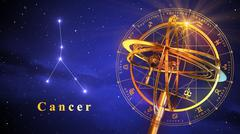Armillary Sphere And Constellation Cancer Over Blue Background - stock illustration