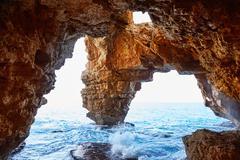 Cala del Moraig beach caves in Benitatxell Stock Photos