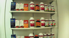 Vitamin Supplements Inside Nutrition Store- Beverly Hills CA Stock Footage