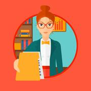 Boss receiving file from employee Stock Illustration