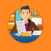 HR manager checking files - stock illustration
