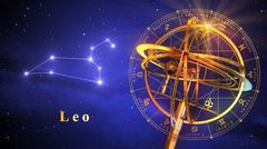 Armillary Sphere And Constellation Leo Over Blue Background - stock illustration