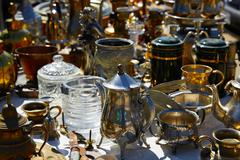 Antiques market outdoor in Spain - stock photo
