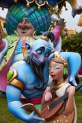 Fallas fest popular figures will burn in March 19 - stock photo
