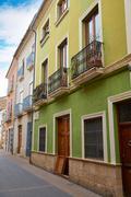 Denia street Loreto facades in Alicante spain Stock Photos