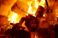 Fallas popular fest burning cartoon figures - stock photo