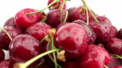Fresh, ripe, juicy cherries rotate Stock Footage