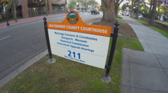 Old Orange County Courthouse Sign - Santa Ana CA Stock Footage
